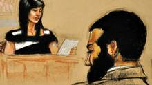 In this Pentagon-approved court sketch, Tabitha Speer, widow of U.S. Sergeant Christopher Speer, testifies at the military trial of Omar Khadr in Guantanamo Bay, Cuba, on Oct. 28, 2010. (Janet Hamlin/THE CANADIAN PRESS)
