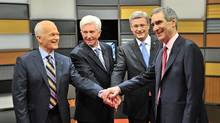 NDP Leader Jack Layton, Bloc Quebecois Leader Gilles Duceppe, Conservative Leader Stephen Harper and Liberal Leader Michael Ignatieff shake hands prior to the French language federal election debate in Ottawa on April 13, 2011. (Sean Kilpatrick/Sean Kilpatrick/The Canadian Press)