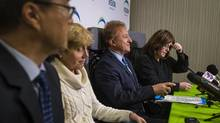 Vancouver School Board members Allan Wong, Joy Alexander, Mike Lombardi and Patti Bacchusduring attend a news conference in Vancouver on Monday. (John Lehmann/The Globe and Mail)