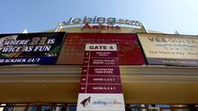 Jobing.com Arena, where the Phoenix Coyotes NHL team plays home games, as shown Wednesday, June 13, 2012, in Glendale, Ariz. (Ross D. Franklin/AP)