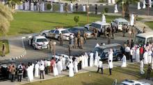 Saudi police ready a square for public floggings in the Saudi city of Khobar September 28, 2009. Saudi Arabia flogged a group of teenagers on Tuesday after a rare riot in the eastern region of the Islamic kingdom in which shops and restaurants were ransacked, a witness and local newspapers said on Tuesday. (STR)