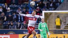 Toronto FC defender Nick Hagglund heads the ball against the Philadelphia Union during the second half at Talen Energy Stadium. (Bill Streicher/USA Today Sports)