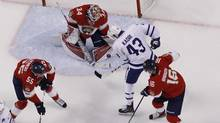 James Reimer of the Florida Panthers stops a shot by Nazem Kadri of the Toronto Maple Leafs on March 14, 2017. (Joel Auerbach/Getty Images)
