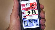 Websites offering 911 emergency text services are seen on a smartphone Wednesday, September 14, 2016 in Montreal. A local politician wants Montreal city council to become the next municipality to consider allowing residents to use text messages to communicate with 911 emergency operators. (Ryan Remiorz/THE CANADIAN PRESS)