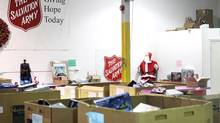 Donations sit in bins at the Salvation Army's Railside Road food and toy distribution centre in Toronto on Nov. 21, 2012. The charitable organization allege the theft of several million dollars worth of items from the site. (Chris Young/THE CANADIAN PRESS)