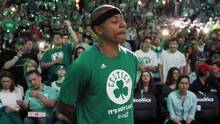 Boston Celtics' Isaiah Thomas stands by himself during team introductions before a first-round NBA playoff basketball game against the Chicago Bulls in Boston, on April 16, 2017. (Michael Dwyer/AP)