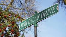 A street sign in the childhood hometown of Bob Dylan, winner of the 2016 Nobel Prize in literature, is seen in Hibbing, Minn. (Reuters)