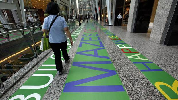 Luminato Text installation by Toronto group Blue Republic in the Brookfield Place atrium in Toronto, June 07, 2012.
