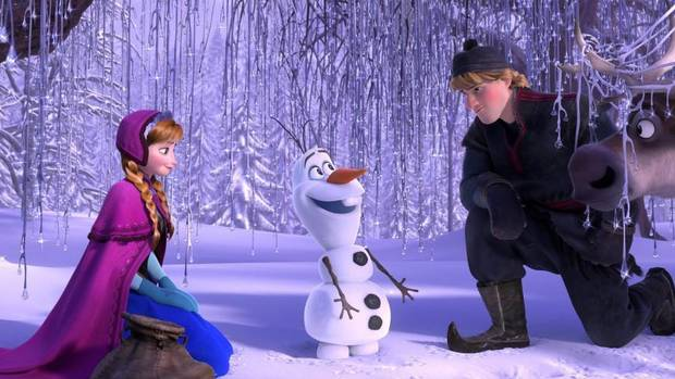 In the wintry forests of Arendelle, Anna (voiced by Kristen Bell), Olaf the snowman (Josh Gad), Kristoff (Jonathan Groff) and Sven the reindeer make plans. (Disney/AP)