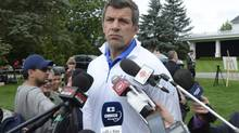 Montreal Canadiens GM Marc Bergevin speaks to reporters at the team's annual golf tournament on Tuesday Sept. 3, 2013, in Laval, Que. (RYAN REMIORZ/THE CANADIAN PRESS)