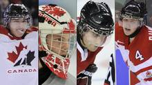 Team Canada players, from left, Ryan Strome, Mark Visentin, Freddie Hamilton and Dougie Hamilton. (TODD KOROL)