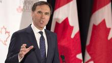 Finance Minister Bill Morneau addresses The Canadian Club of Toronto and The Empire Club regarding Budget 2017 in Toronto on Friday March 24, 2017. (Frank Gunn/THE CANADIAN PRESS)