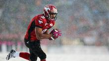 Calgary Stampeders' Jon Cornish catches a pass and runs into the end zone for a touchdown during the first half of their CFL game against the Hamilton Tiger-Cats in Calgary, Alberta October 20, 2012. (TODD KOROL/REUTERS)