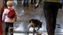 A man walks through the show hall with both a dog and a child on leashes during the first day of the Crufts Dog Show in Birmingham, central England, March 11, 2010. (© Phil Noble / Reuters/REUTERS)