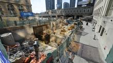 Work continues in Toronto on the subway's Union Station redevelopment project, which will see a second platform built as well as new stadium steps to move passengers more efficiently. (Fred Lum/The Globe and Mail)