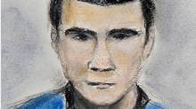 A sketch of Matthew de Grood, who is facing five first-degree murder charges, is shown on April 22, 2014. (JANICE FLETCHER/THE CANADIAN PRESS)