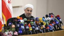 Iranian President-elect Hassan Rohani speaks with the media during a news conference in Tehran on June 17, 2013. (FARS NEWS/Reuters)
