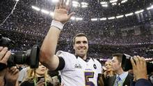 Baltimore Ravens quarterback Joe Flacco celebrates after his team defeated the San Francisco 49ers in Super Bowl XLVII game in New Orleans, Louisiana, February 3, 2013. (LUCY NICHOLSON/REUTERS)