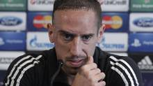 Bayern Munich's soccer player Franck Ribery attends a news conference ahead of a practice session in Lille, northern France, October 22, 2012. Bayern Munich will play their Champions League soccer match against Lille on Tuesday. (PASCAL ROSSIGNOL/REUTERS)