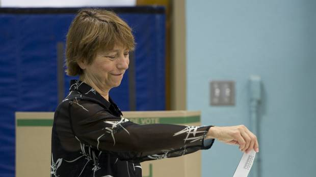 Quebec Solidaire co-leader Françoise David casts her vote in Montreal on Tuesday, September 4, 2012.