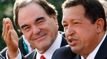 Oliver Stone and Hugo Chavez in Venice, Sept. 8, 2009.
