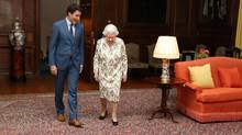 Britain's Queen Elizabeth II greets Canada's Prime Minister Justin Trudeau during an audience at the Palace of (Andrew Milligan/REUTERS)