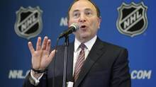 NHL hockey commissioner Gary Bettman speaks to the media, Monday, Dec. 8, 2014, after attending an NHL owners meeting in Boca Raton, Fla. (Wilfredo Lee/AP)
