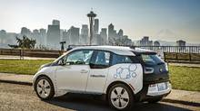 A BMW i3 that is part of the ReachNow pilot program is parked in Seattle. (Sugar Shoots / Jules Frazier/BWM ReachNow)