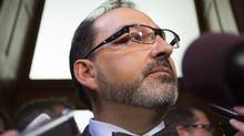 Ontario Energy Minister Glenn Thibeault speaks with the media in Toronto on Sept. 12, 2016. (Peter Power/THE CANADIAN PRESS)