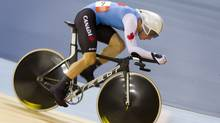 Canada's Zach Bell competes in the track cycling men's omnium individual pursuit, during the 2012 Summer Olympics in London, Sunday, Aug. 5, 2012. (Kevin Van Paassen/The Globe and Mail)