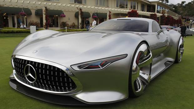 The Mercedes-Benz AMG Vision Grand Turismo concept car is displayed on ...