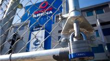 A padlock is seen on a parking lot gate outside Rogers Arena, the home of the Vancouver Canucks NHL hockey team, in Vancouver, B.C., on Sunday September 16, 2012. The NHL locked out its players at midnight Saturday, the fourth shutdown for the NHL since 1992, including a year-long dispute that forced the cancellation of the entire 2004-05 season. (Darryl Dyck)