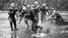 Conditions in 1950 Grey Cup game, played at Varsity Stadium, were so bad it's referred to as the Mud Bowl Game. (Turofsky)