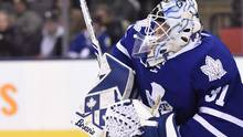 Goalie Garret Sparks was back on the Ricoh Coliseum ice on Tuesday morning skating, but his return to the Toronto Marlies lineup remains uncertain. (Frank Gunn/THE CANADIAN PRESS)