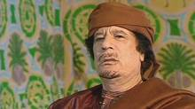 Libyan leader Moammar Gadhafi speaks to RTP Portugal TV on March 17, 2011. (AP Photo/RTP Portugal TV)