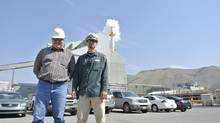 Right, Cade White, operator, and Randy Corder, reliability improvement program implementer, at Agrium Inc.'s Conda Phosphate Operations. (Agrium)