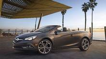 Buick Cascada Convertible, still ¾ front angle with roof down. Vehicle is shown in Technical Grey exterior color, ebony leather interior and 20-inch wheels. (General Motors)
