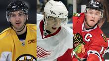 Patrice Bergeron of the Boston Bruins, Pavel Datsyuk of the Detroit Red Wings and Jonathan Toews of the Chicago Blackhawks