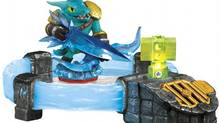 In Skylanders: Trap Team the villains, once defeated, are effectively sucked out of the game and into a glowing crystal that plugs into the newly redesigned portal, which then plays audio from the trapped character. (Activision)