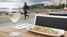 White wine and ceviche is served at the Cactus Club English Bay. 1790 Beach Ave., in Vancouver. (Laura Leyshon for the Globe and Mail/Laura Leyshon for the Globe and Mail)