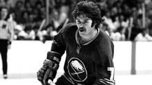 Rick Martin of the Buffalo Sabres skates against the Boston Bruins at Boston Garden back in the 1970s. (Steve Babineau/NHLI via Getty Images)