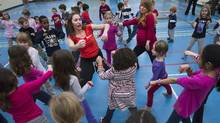 Children take part in a dance class in Toronto on Wednesday, Feb. 29, 2012. It's well-established that Canadian kids are not as active as they could be. Now a new study suggests they're among the least active kids in the world. (Nathan Denette/THE CANADIAN PRESS)