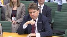 A still image taken from video shows Bank of England's deputy governor, Paul Tucker, appearing before a parliamentary committee in London, July 9, 2012. Mr. Tucker strongly denied suggestions that government ministers had pressured him to encourage banks to manipulate interest rates in a scandal gripping Britain's financial sector. (REUTERS TV/Reuters TV)
