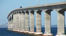 The Confederation Bridge, taken from the New Brunswick side, Aug. 25, 2010. (Jocelyn Currie for The Globe and Mail)
