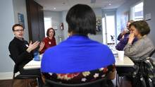 Robert Smith (L), a registered dietitian discusses diet choices during a diabetes education class at the Taddle Creek Family Health Team in downtown Toronto on Feb 11 2015. (Fred Lum/The Globe and Mail)