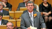 Saskatchewan Finance Minister Ken Krawetz reads the 2012 Provincial Budget in Regina on Wednesday, March 21, 2012. (ROY ANTAL/THE CANADIAN PRESS/ROY ANTAL/THE CANADIAN PRESS)