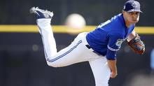 Toronto Blue Jays starting pitcher Aaron Sanchez throws a pitch during the fourth inning against the Philadelphia Phillies at Florida Auto Exchange Stadium in Dunedin, Fla., on Saturday, March 11, 2017. (Kim Klement/USA Today Sports)