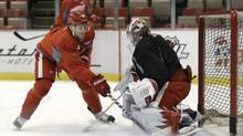Detroit Red Wings' Damien Brunner, left, of Switzerland shoots on goalie Jimmy Howard during practice for the shortened 2012-2013 NHL hockey season in Detroit, Thursday, Jan. 17, 2013. (Paul Sancya/AP)