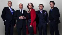 Jim Treliving, Kevin O'Leary, Arlene Dickinson, Robert Herjavec, and Bruce Croxon from the CBC show Dragons' Den.