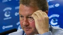 Vancouver Canucks President and General Manager Mike Gillis holds a news conference in Vancouver, British Columbia April 24, 2012. The Canucks were eliminated from the first round of the NHL hockey playoffs by the Los Angeles Kings. (Andy Clark/REUTERS)